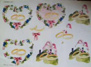 3D Decoupage sheet A4. Love Birds and Wedding Rings